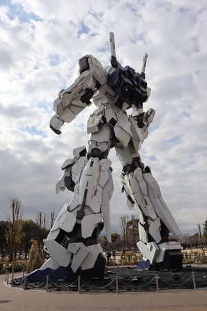 This is the Unicorn gundam winter 2018 back side at odaiba island