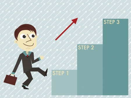 Manager with three steps infographic template Vector