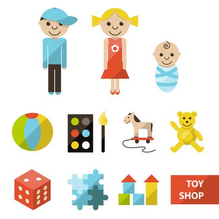 toy shop: Set di icone del negozio di giocattoli Vettoriali