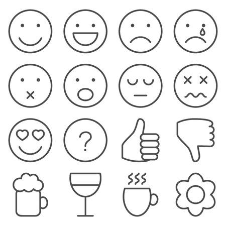 Set of vector line emoticons in grey Vector