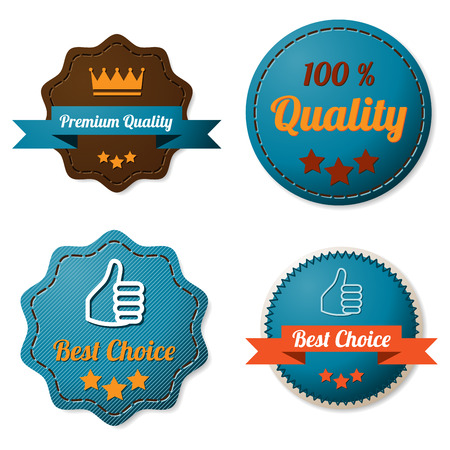 Leather quality labels Vector