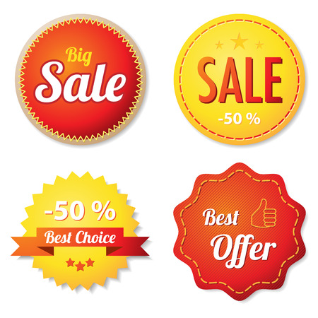 Red and yellow offer labels Vector