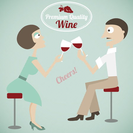 Vintage poster of a couple with wine Vector