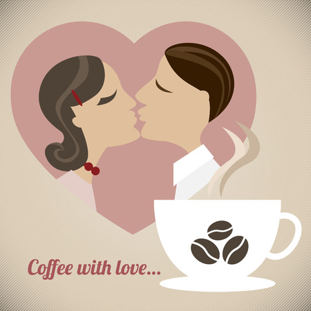 hot couple: Coffee with love - a retro illustration of a couple in love with a cup of great coffee