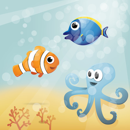 Underwater cartoon illustration Vector