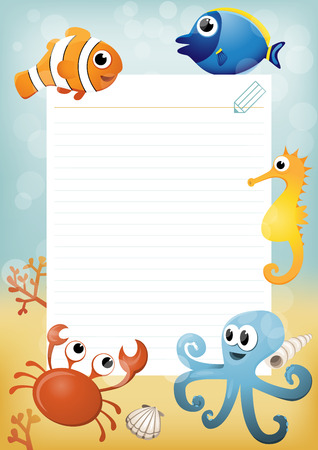 Paper sheet template with cartoon sea animals in background Vector
