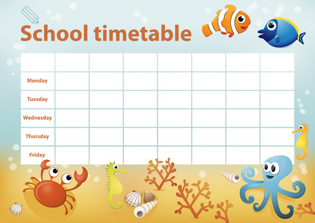 cartoon seahorse: School timetable with cartoon sea animals in background
