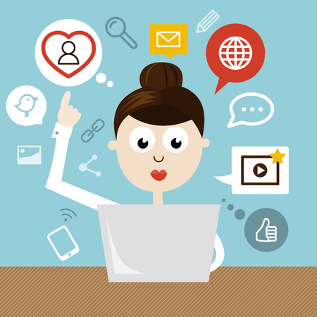 Woman With Notebook And Social Media Icons Vector