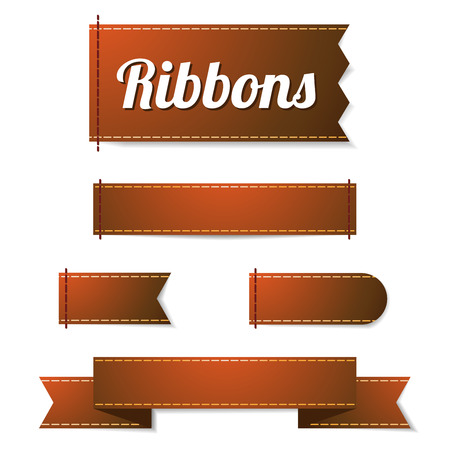 brownish: Set of five vector ribbon labels in glossy brownish color