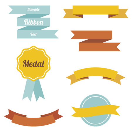 Set of vector flst ribbons and labels in retro style and colors Vector