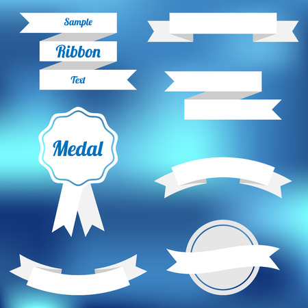 Set of vector flat ribbons and labels Vector