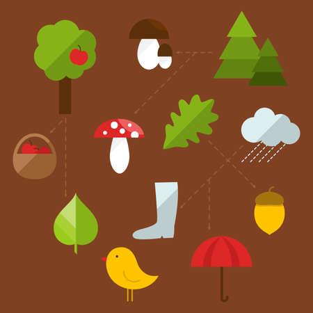 Flat autumn illustration with natural motives Vector