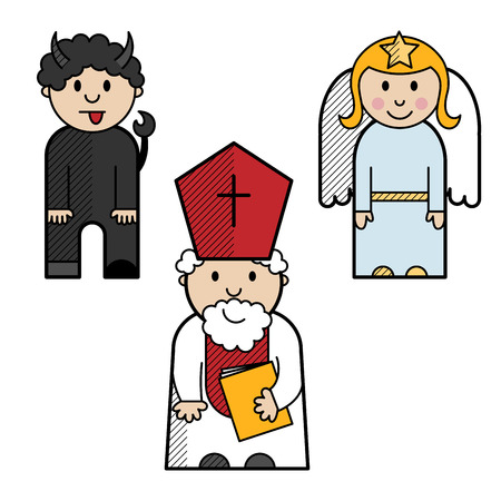 devil angel: Saint Nicholas, angel and devil colored in a simple style Illustration