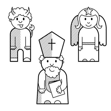 saint nicholas: San Nicol�s, �ngel y demonio en forma de iconos alineados negro Vectores
