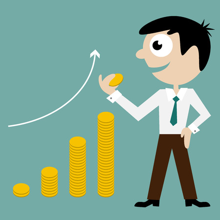succes: Flat illustration of a manager with graph from money Illustration