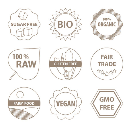 Vector bio and healthy food labels in a simple line style. Vector