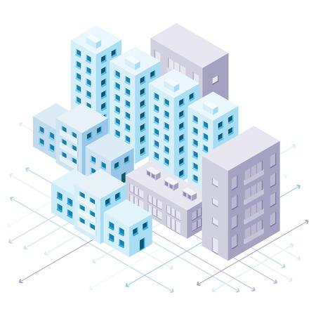 violet residential: Vector isometric city illustration in light blue and violet colors. Illustration