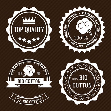 organic cotton: Set of five white flat organic cotton and quality labels.