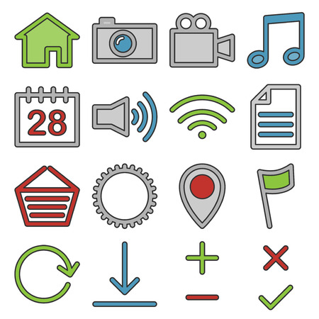 home video camera: Set of web and media icons in black color. Illustration