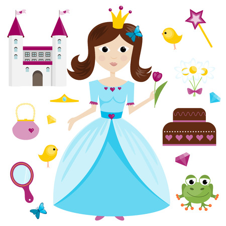Set od princess in light blue dress and princess items. Vector
