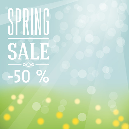 Spring sale label ? sky and grass with flowers on background and white flat label. Vector