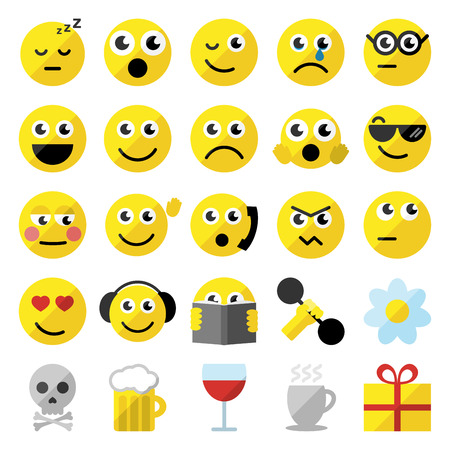 happy emoticon: Sef of 25 emoticons in flat design.