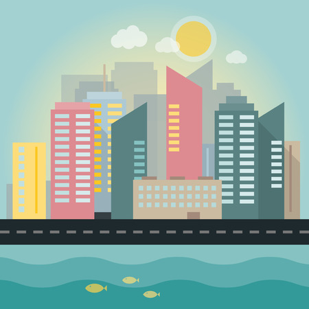 Flat illustration of a city in daylight with sea. Vector