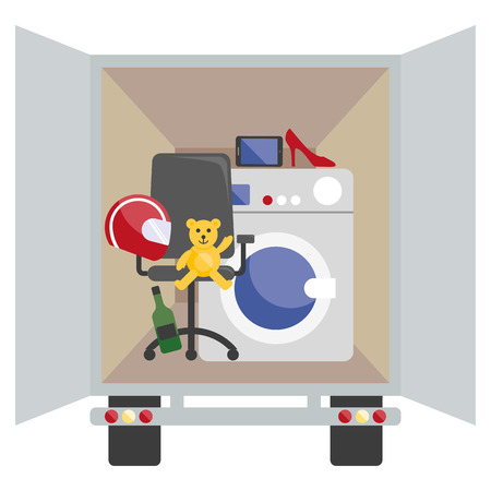 deliver: Moving van with with objects to deliver in flat style.