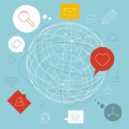 wireframe globe: Thin line abstract globe and icons showing globalization. Illustration