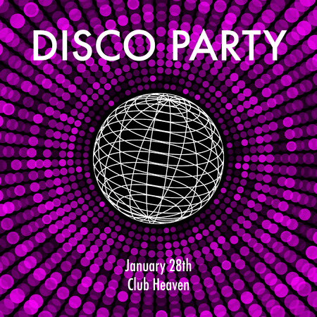 od: Abstract party background in purple and black with wireframe od disco ball. Illustration