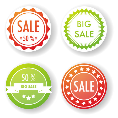 label sticker: Set of four round sale labels in red and green.