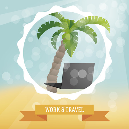 nomad: Work and travel illustration with beach, palm and notebook. Illustration