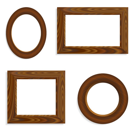 wenge: Set of vector blank wooden frames round and square.