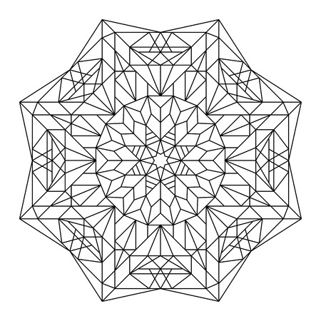 stained: Vector antistress coloring book with geometric mandala.