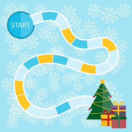 pizarra: Plantilla para un juego de mesa de Navidad con el inicio y el �rbol con los presentes en el acabado. Vectores
