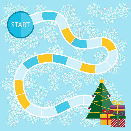 game board: Template for a Christmas board game with start and tree with presents in the finish.