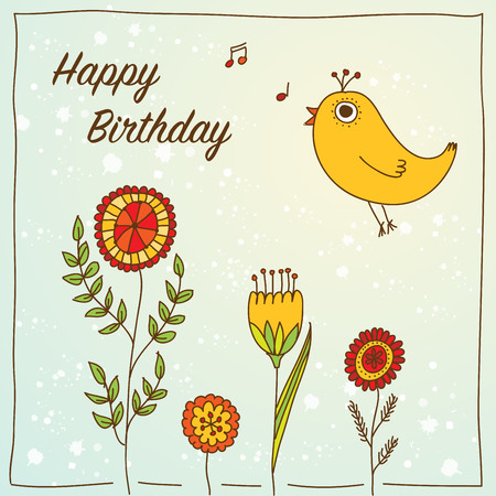 romantic: Vector romantic birthday card with flowers and bird. Illustration