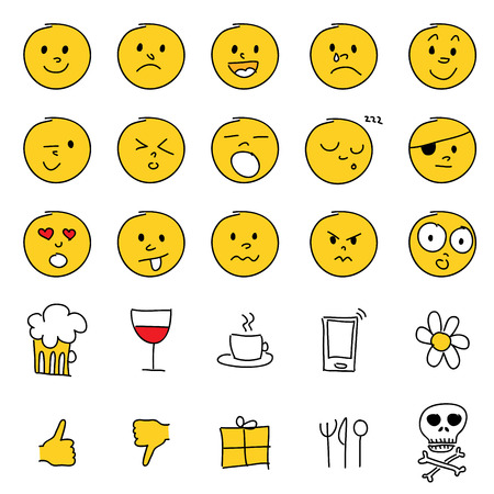 hands up: Vector set of 25 hand drawn cartoon emoticons. Illustration