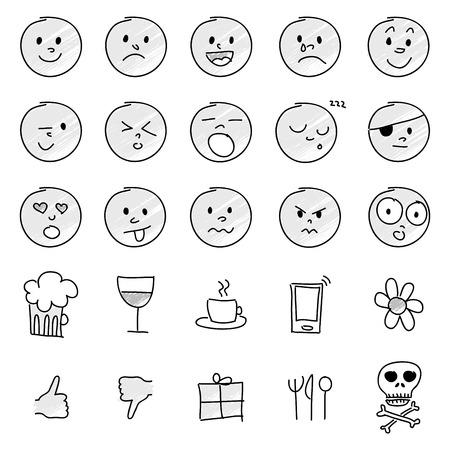 greyscale: Vector set of 25 hand drawn cartoon emoticons in greyscale.