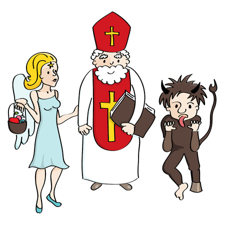 angel devil: Saint Nicholas, angel and devil colored in a cartoon style.