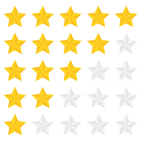 five stars: Five star ranking in a flat style. Illustration