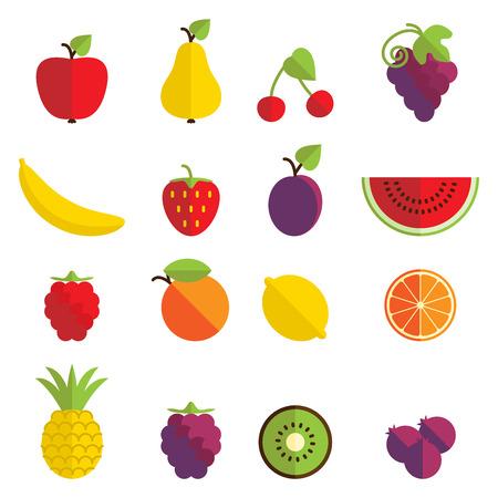platano caricatura: Conjunto de 16 iconos de la fruta en diseño plano. Vectores