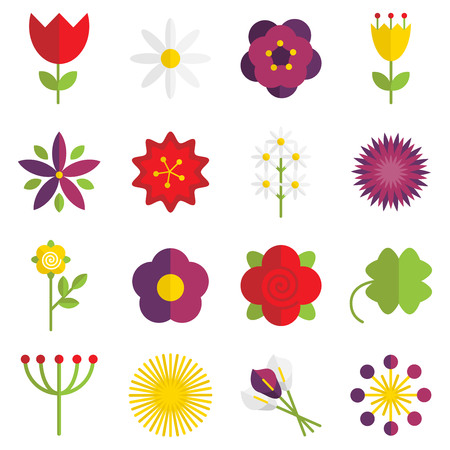 yellow rose: Set of 16 vector flat floral icons. Illustration