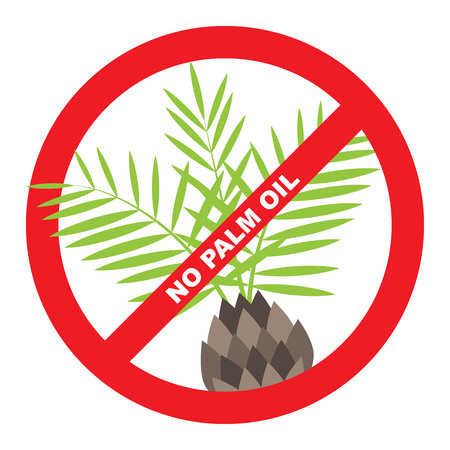 palm oil: No plam oil label with palm and red ban.
