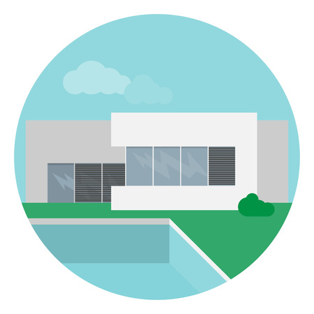 sunblind: Vector illustration of a modern minimalistic house with swimmimg pool in a flat design.