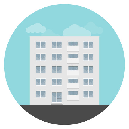 flat panel: Vector panel residential house in a flat style. Illustration