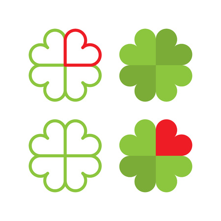 fourleaved: Symbol of a cloverleaf in flat and line style made from hearts.