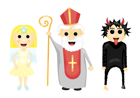 feast: Vector illustration of Saint Nocholas, angel and devil traditional feast Illustration