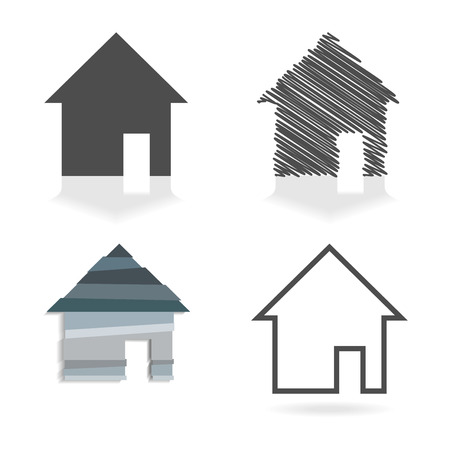 simple house: Set of four simple house symbols in grey colors. Illustration