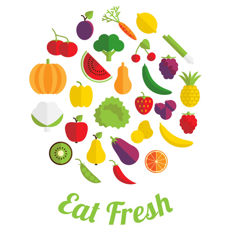 salat: Eat fresh label with fruit and vegetable in flat style.